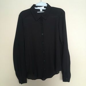 Forever 21 Black Button-down Top